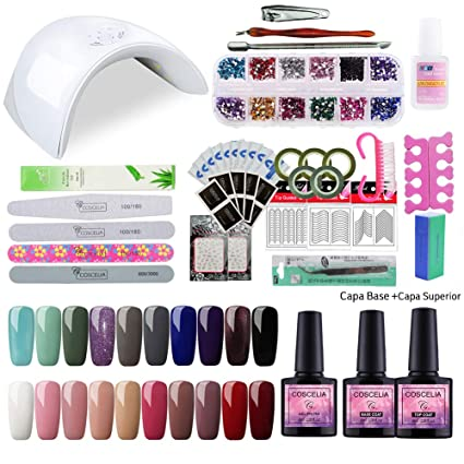 Saint-Acior 36W UV/LED Lámpara Secador de Uñas Kit Uñas de Gel 20PC