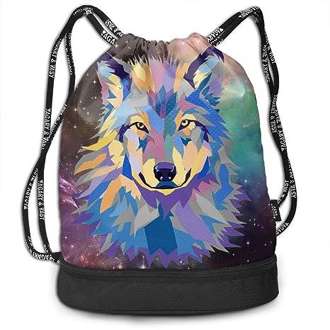 97debe866830 Amazon.com: Zhangyi Colorful Wolf Galaxy Drawstring Backpack Sports ...