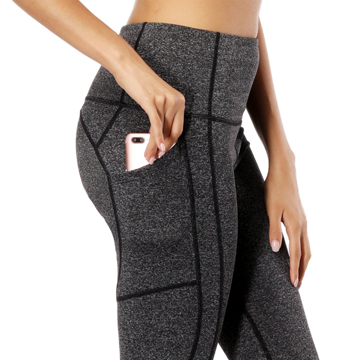 FUURY Womens High Waist Yoga Pants Capri Tummy Control Workout Running Leggings 4 Way Stretch Yoga Leggings with 2 Out Pockets …