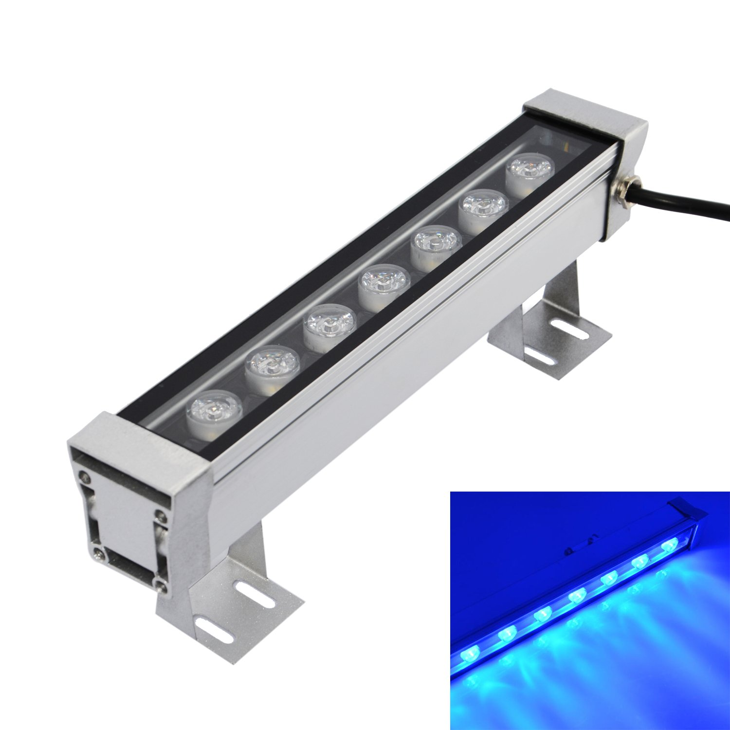 RSN LED Linear Wall Light 7W Wall Washer Blue Color Bar Aluminum Alloy DJ Stage Lighting Waterproof IP65 2 Years Warranty Disco Backlighting for Wedding, Restaurant, Church, Venues, Backyard Party