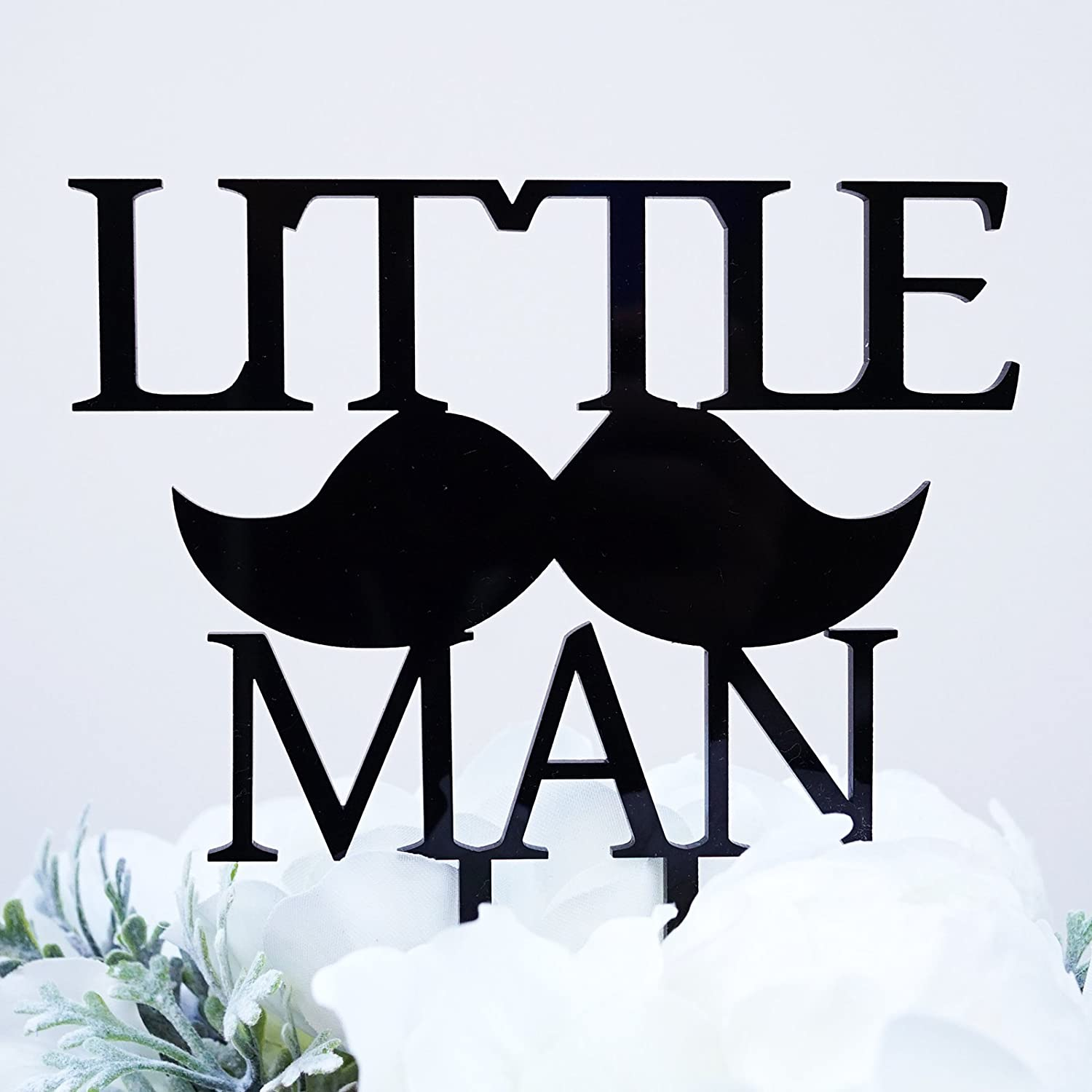 "Amazon ""Little Man"" with Mustache Silhouette Boy Baby Shower"