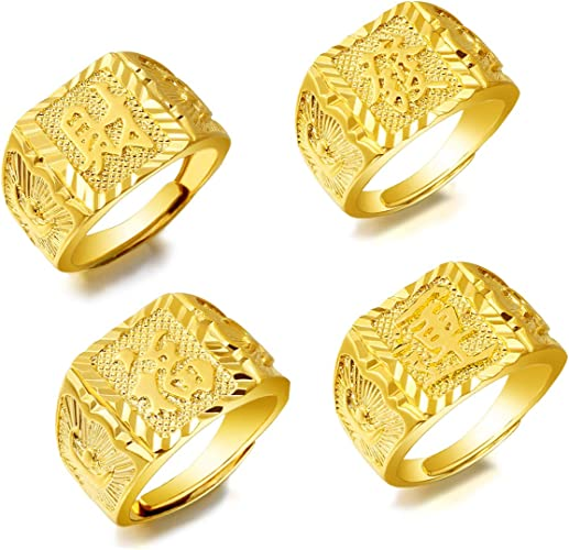 LOLIAS 3 Pcs Mens 18K Gold Plated Rings Wedding Ring Rich//Luck//Wealth Ring Set Adjustable Band Ring