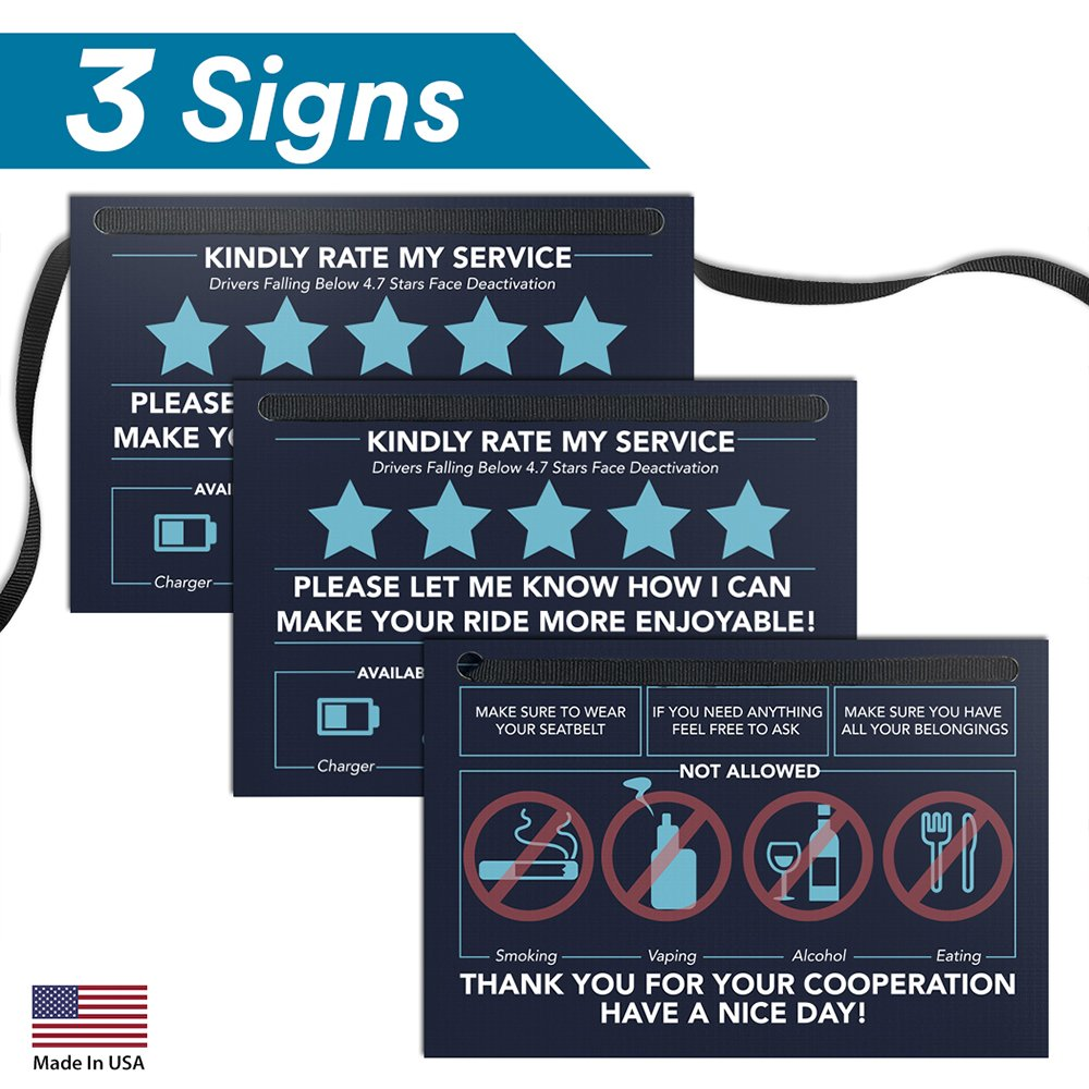 "Pixelverse Design Rating Tip Accessories Driver Sign - (Set of 3) - 6"" x 4"" - Thick Laminated Large Rate Me Sign - Premium Gift for Car Driver - Interior Headrest No Smoking 5 Star Tipping Sign"