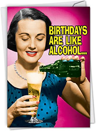 Funny Joke Retro Female Birthday Greetings Card Humour Cocktail Drink Greeting Cards Invitations Greeting Cards Party Supply