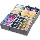 4 Pcs Foldable Drawer Organizer, GOGOODA Closet Organizer Drawer Suitable for Underwear Bras Socks.(Dark-grey)
