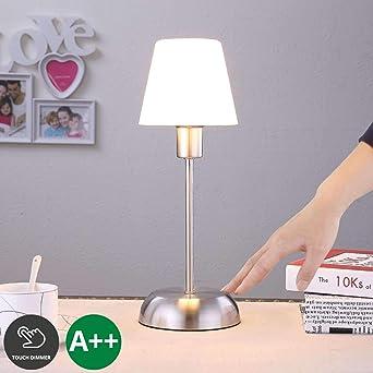 2 x Nacht Tisch Leuchte Schlaf Zimmer Touch Dimmer Lampen Alabaster Silber Optik