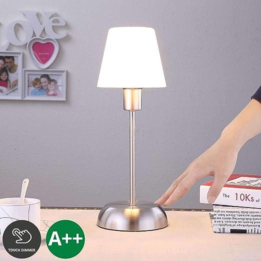 Lampe à poser 'Gregor' (Avec variateur d'intensité tactile) à intensité variable (Moderne) en Blanc en Métal ea pour Chambre à coucher (1 lampe,à E14,