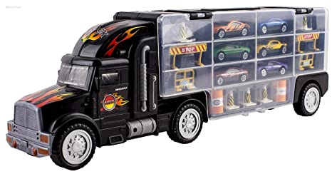 Car Carrier Truck >> Amazon Com Wolvol Transport Car Carrier Truck Toy For Boys And