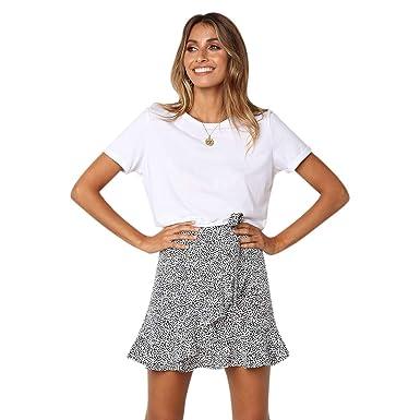 Timagebreze Falda Estampada de Las Mujeres Falda Corta de Cintura ...