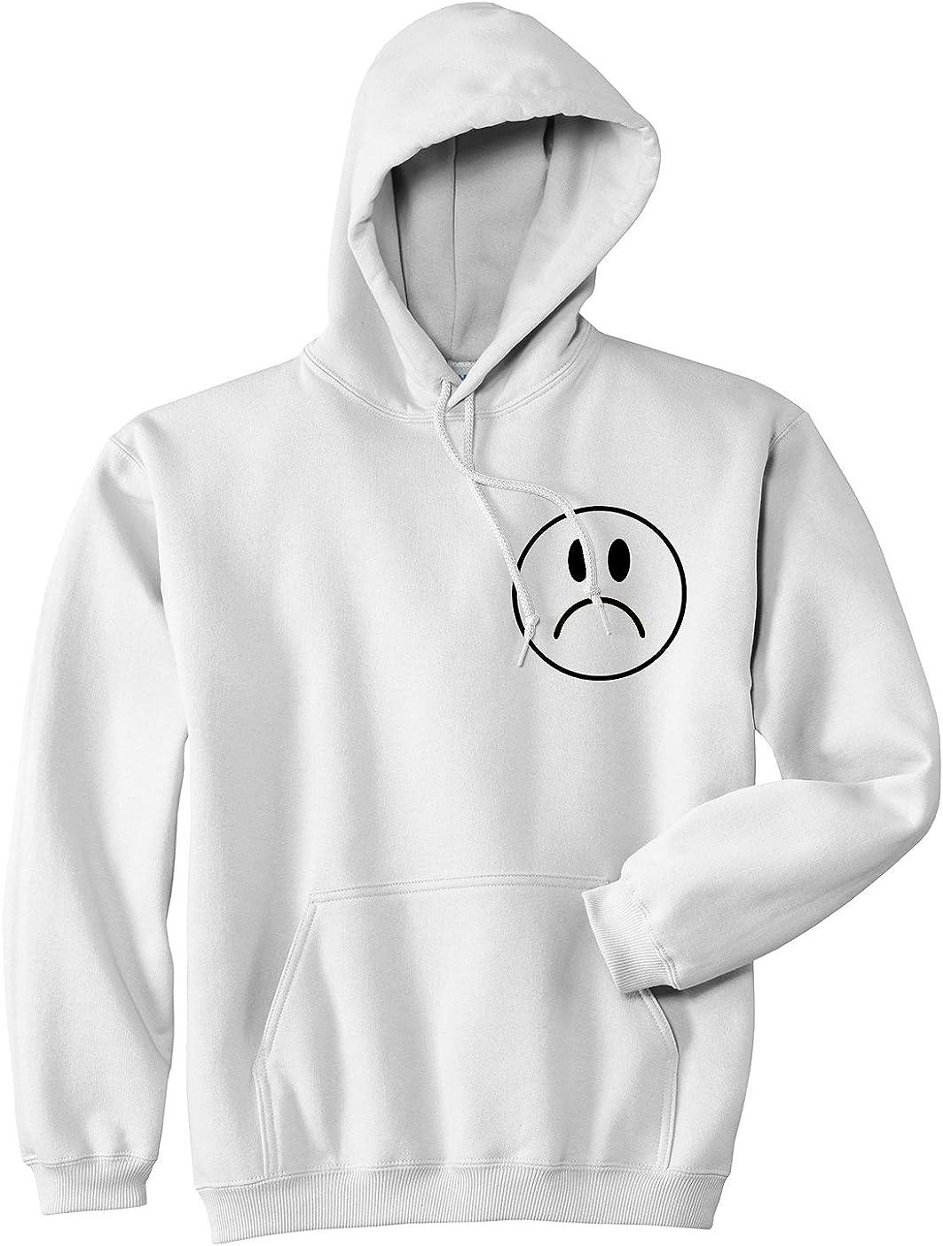 Sad Face Emoji Chest Pullover Hoodie Hoody