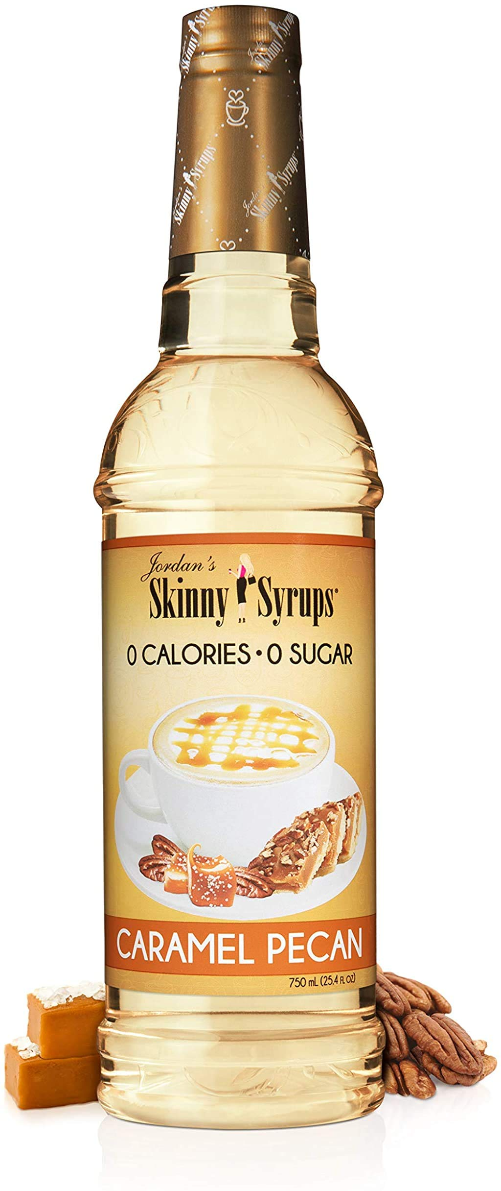 Jordan's Skinny Syrups Caramel Pecan, Sugar Free Coffee Flavoring Syrup, 25.4 Ounce Bottle
