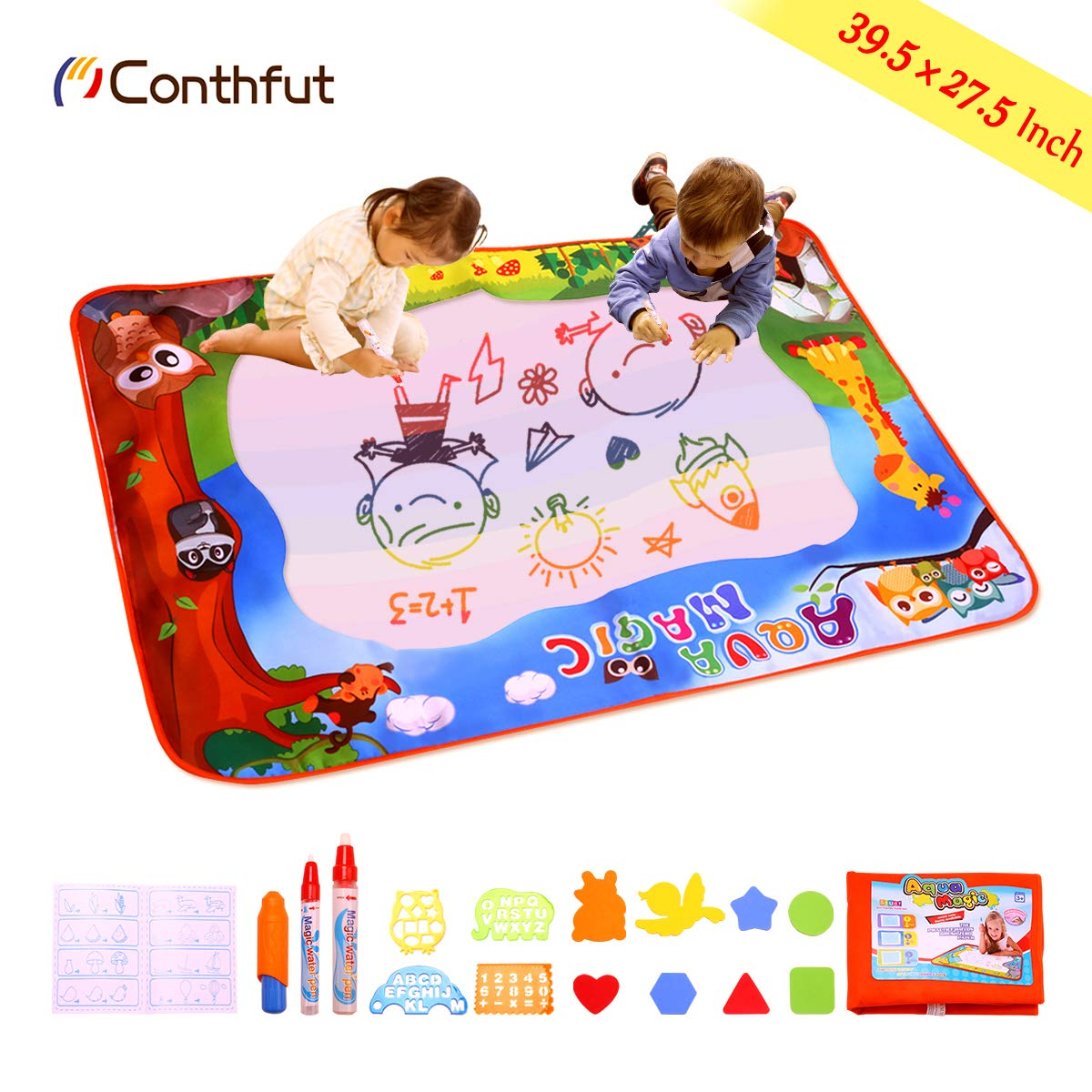Water Doodle Mat,Conthfut Aqua Magic Mat Extra Large Size 39.5'' X 27.5 inch Water Drawing Mat Kids Toys Toddlers Painting Pad Writing Mats in 6 Rainbow Colors with 3 Magic Pen and 12 Drawing Templates
