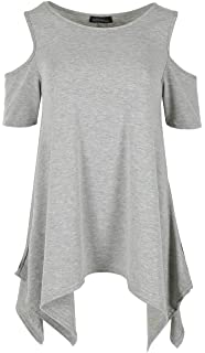 Womens Ladies Cold Cut Shoulder Hanky Hem Top Swing Oversized Tunic Flared Loose