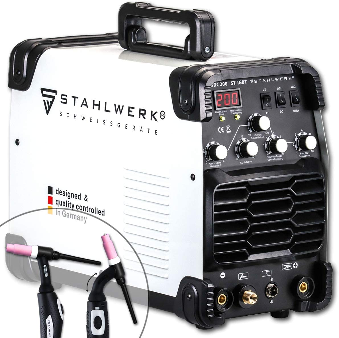 STAHLWERK AC/DC WIG 200 ST IGBT - Equipo de soldadura combinado con 200 amperios WIG & MMA, soldadura de aluminio, 7 años de garantía del fabricante