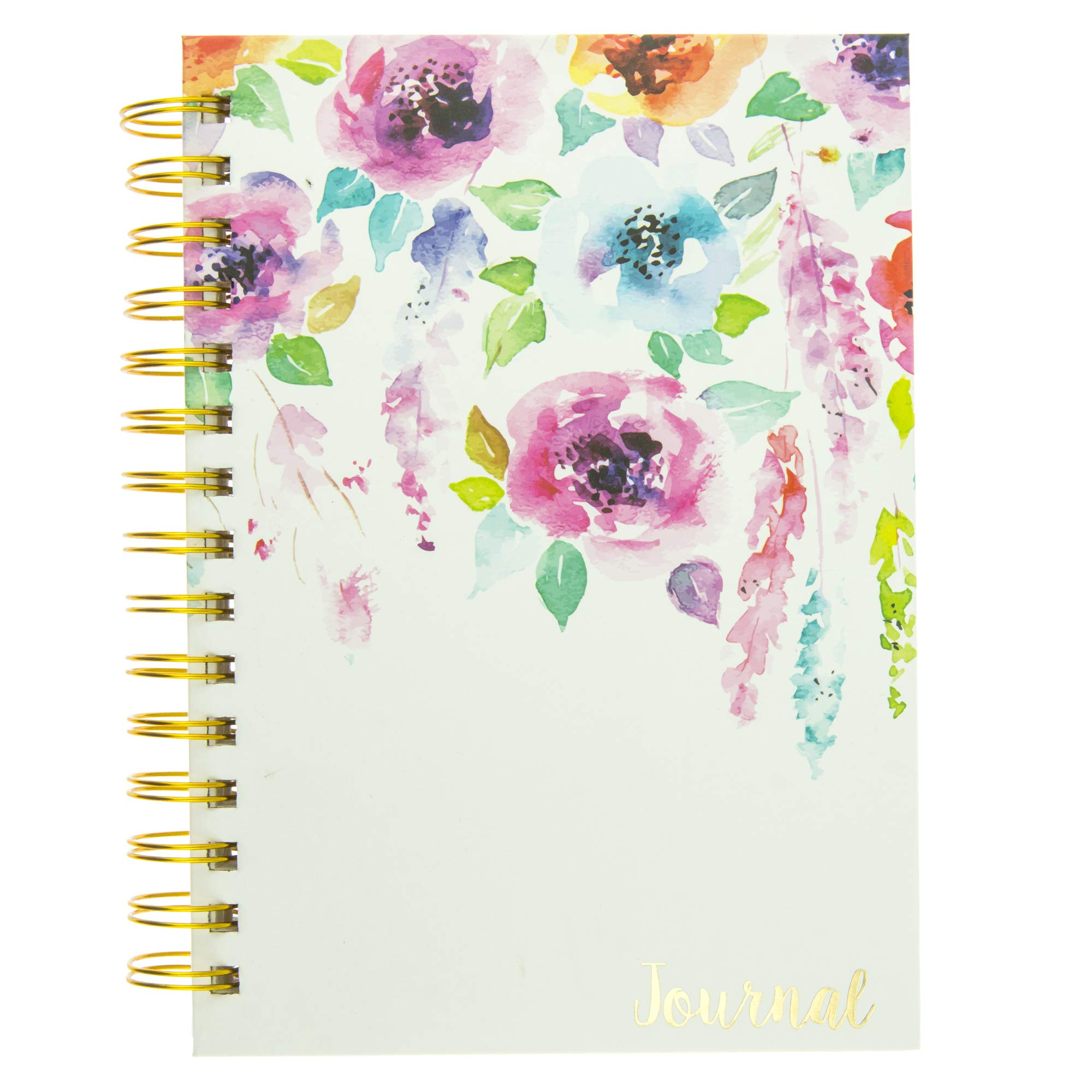 Graphique Hanging Flowers Hard Bound Journal w/Watercolor Flowers on Cover, Beautiful Introspective Journal for Nature Lovers and Gentle Spirits, 160 Ruled Pages, 6.25'' x 8.25'' x 1'' by Graphique