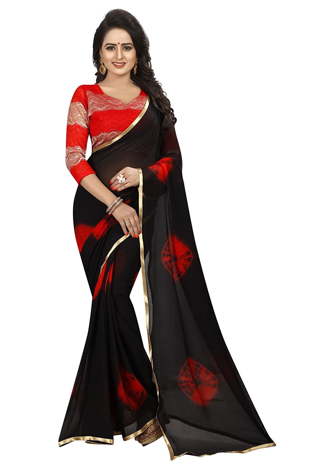 Shonaya Women Black & Red Colour Chiffon Lace Border Saree RED-WOMEN