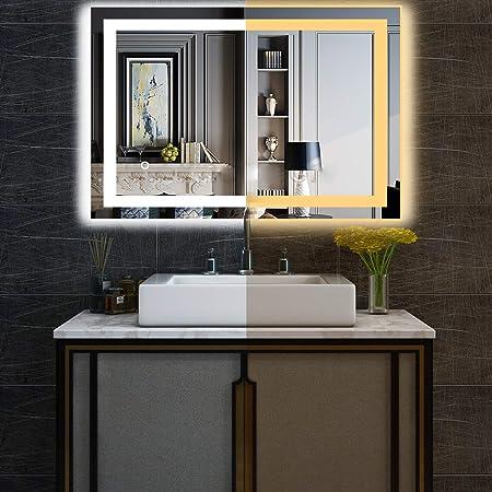 LED Bathroom Wall Mirror Anti-fog Illuminated Lighted Vanity Mirror Touch Button
