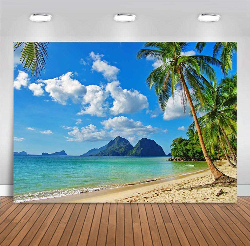 Fanghui Beach Backdrop Ocean Photography Background for Wedding Party Decoration Beach Photo Studio Props Backdrop Vinyl 7x5ft
