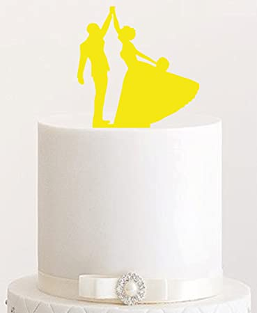 Cake Topper 3 Tortenstecker Tortenfigur Acryl Tortenstander Etagere Hochzeit Hochzeitstorte Gelb