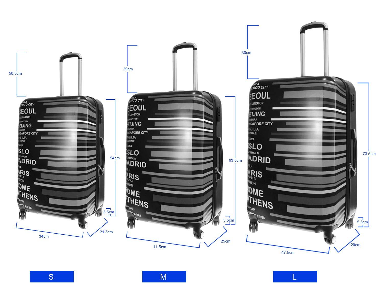 1318-SET3 Ville, Ensemble 3 Alexander Set 3Pcs ABS Valise de Voyage Structure pour Bagages /à la Main Rigide L/éger Etanche avec Poign/ée T/élescopique 4 Roues Pivotantes Diff/érents Mod/èles 3 Tailles