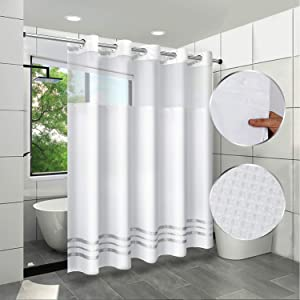 ARICHOMY Shower Curtain Set Waffle Weave Curtain Fabric Shower Curtain Set 250GSM Hookless Removeable Liner, Water Repellent, Machine Washable 71by 74inch, White