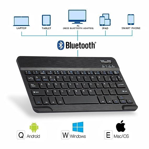 Feelkaeu iPad 9.7 Funda de Teclado Bluetooth con Portalápices, para iPad 2018 (6th Gen) iPad 2017 (5th Gen) iPad Pro 9.7 iPad Air 2 1 Teclado Inalambrico ...