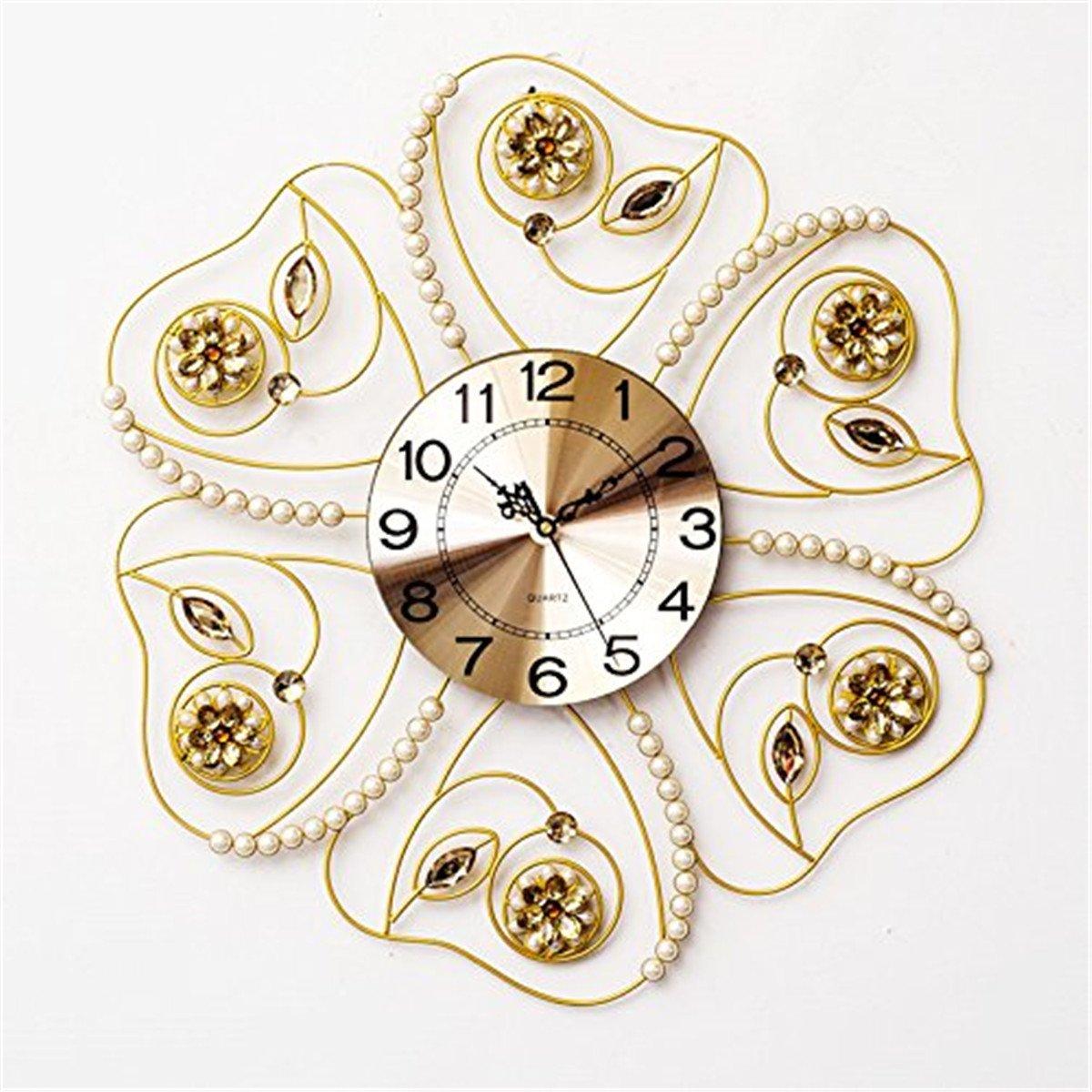RFVBNM Classic European style Hotel Pearl flash drill acrylic iron mute living room wall clock Creative Brief about horizontal 6060cm Clocks
