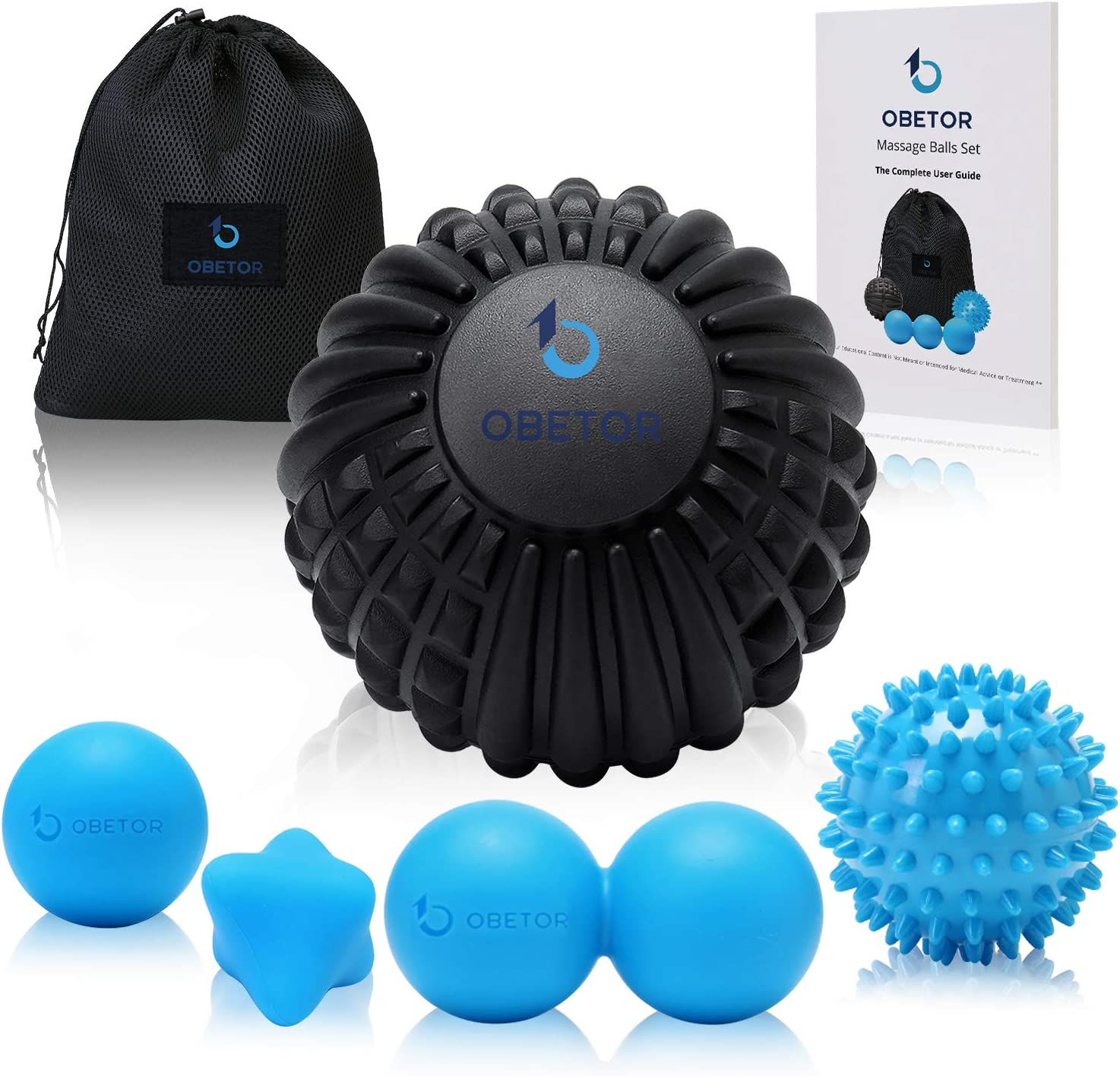 """OBETOR Massage Ball Set for Deep Tissue Muscle Knots, Trigger Point Physical Therapy, Myofascial Release, 5"""" Textured Mobility/Lacrosse/Peanut/Spiky/Hand Roller Ball for Back/Shoulder/Foot Pain Relief"""