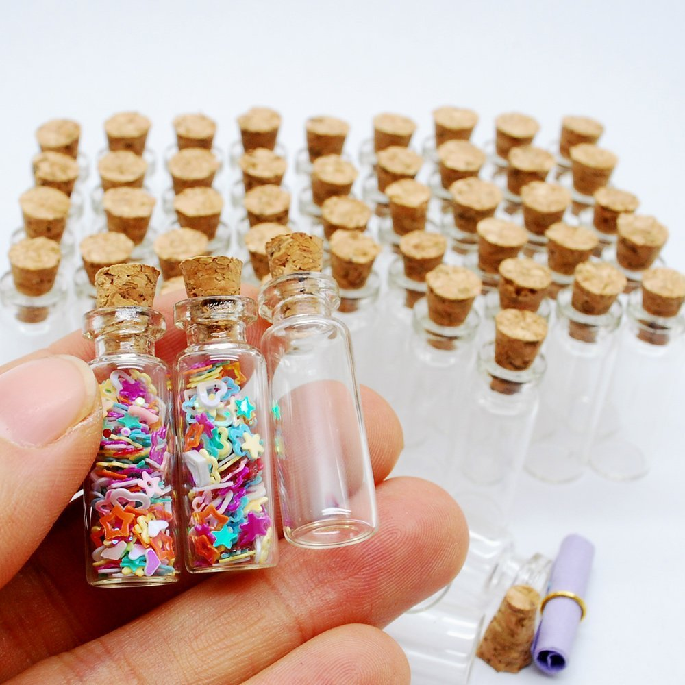 0f326ce34a29 VNDEFUL 24 Pcs Mini Clear Glass Jars Bottles with Cork Stoppers for Arts &  Crafts, Projects,...