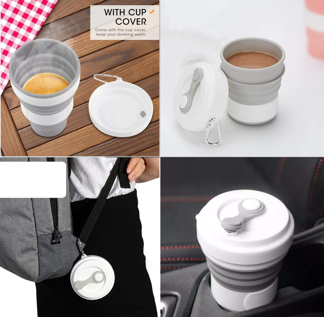 Grey Portable BPA Free Sport Bottle with Lid Reusable Foldable Water Bottle for Outdoor Hiking Camping School Indoor WNnest Silicone Collapsible Travel Cup