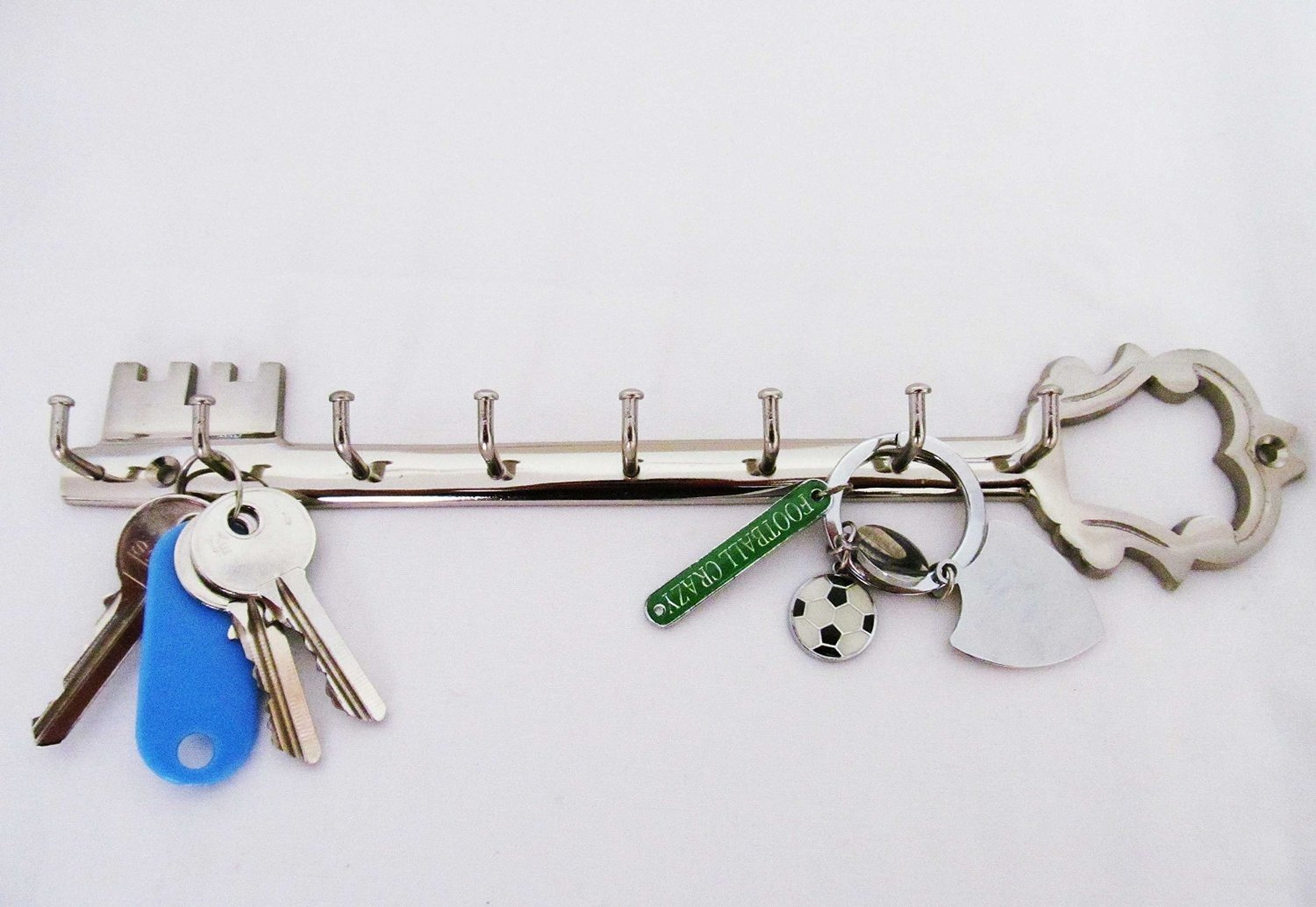 KEY SHAPE Chrome Finish Brass Metal Key Hook Hanger Holder Rack Decor IvoryBlu777