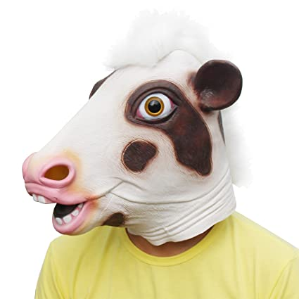 CreepyParty Novelty Halloween Costume Party Latex Cow Head Mask (Pink Cow)