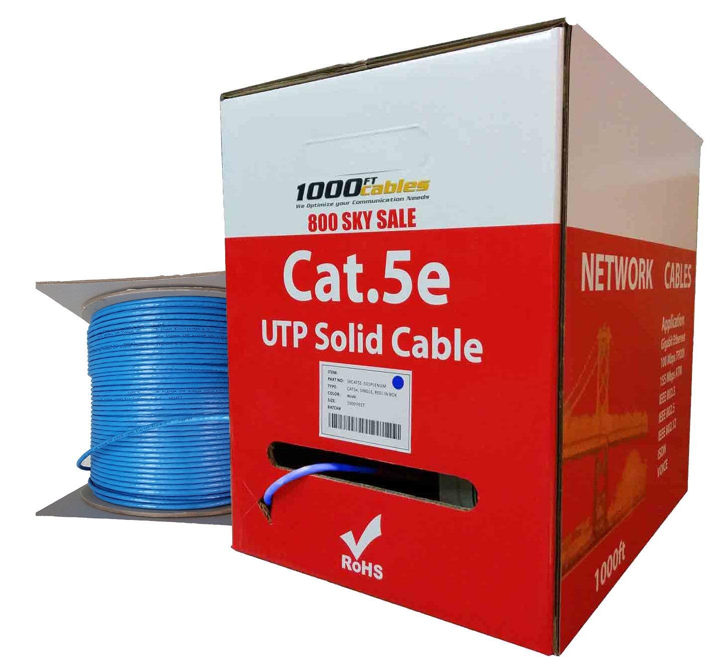 CAT5e Plenum 1000FT Bulk 350MHz Networking Ethernet CMP Cable (Blue)