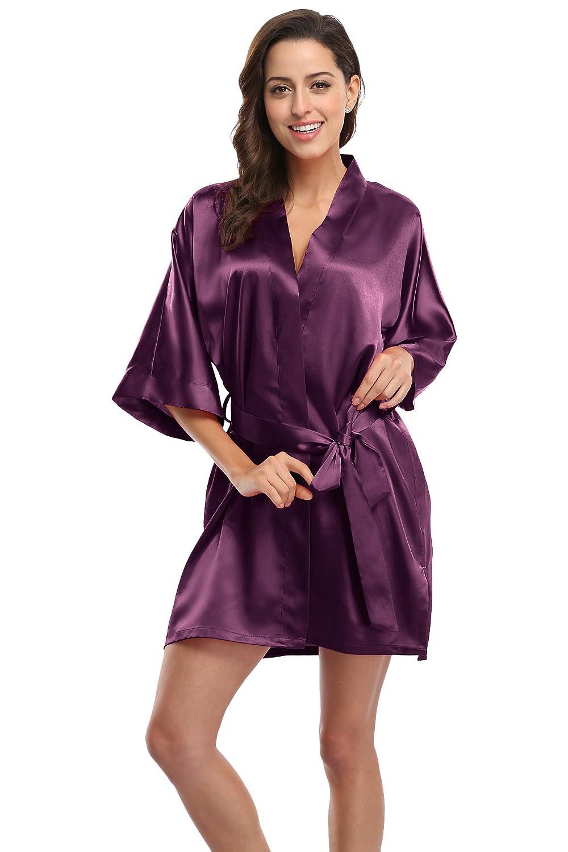 CostumeDeals KimonoDeals Women's dept Solid Color Soft Satin Short Kimono Robe for Wedding