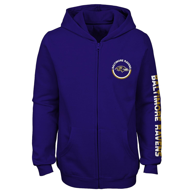 Youth X-Large NFL Baltimore Ravens Girls Outerstuff Brilliant Full Zip Fleece Hoodie 16 Purple