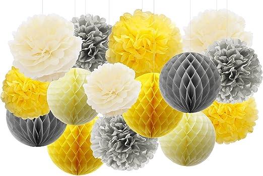 neutrals 5 tissue paper pom poms wedding decoration.htm amazon com furuix 15pcs yellow grey elephant baby shower  furuix 15pcs yellow grey elephant baby