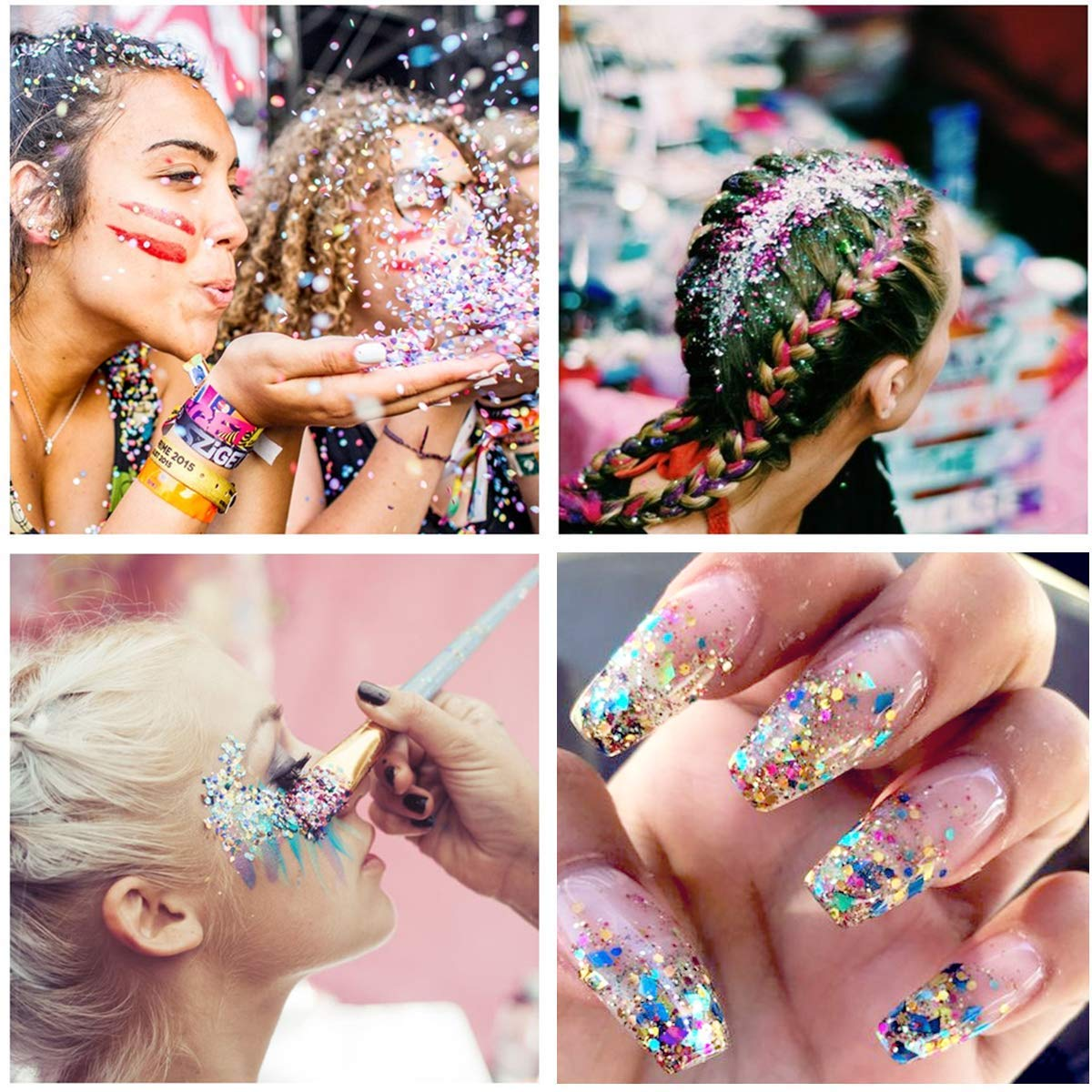 Body Glitter Face Glitter, 6 Mixed Color Glitter with 1pcs Non Toxic Sticky Gel, Hair Glitter Rave Accessories