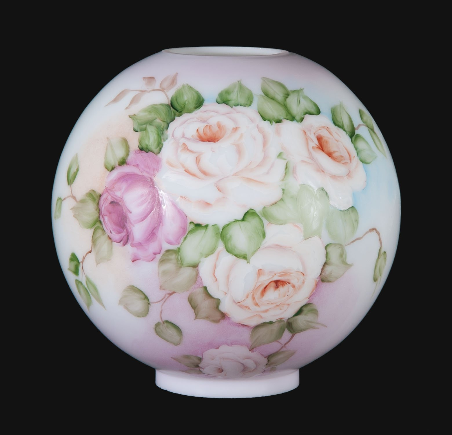 B&P Lamp Friendship Roses Scene Hand Painted Opal Glass Ball Lamp Shade