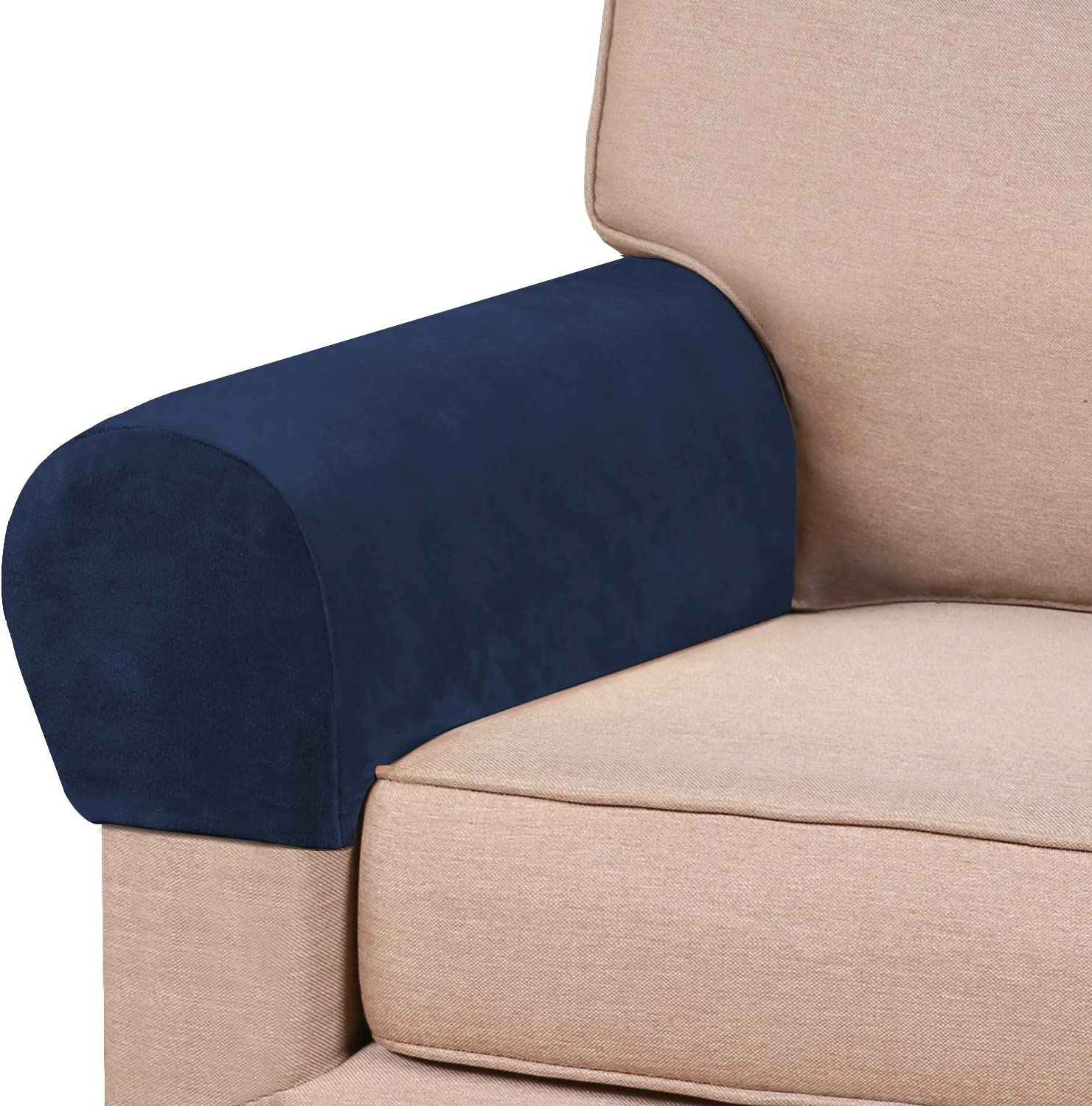 Thick Velvet Stretch Armrest Covers for Chairs and Sofas Armchair Covers for Arms Couch Arm Covers Armrest Covers for Sofa Non Slip (4 Pack: Navy)