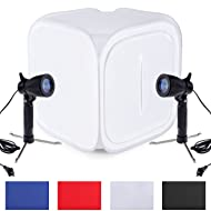 Neewer 12x12 inches Photo Studio Shooting Tent Light Cube Diffusion Soft Box Kit with 4 Backdrops(Red Dark Blue Black White) and 2 Pieces 120V 50W Table Top Lamp with Stand for Product Photography