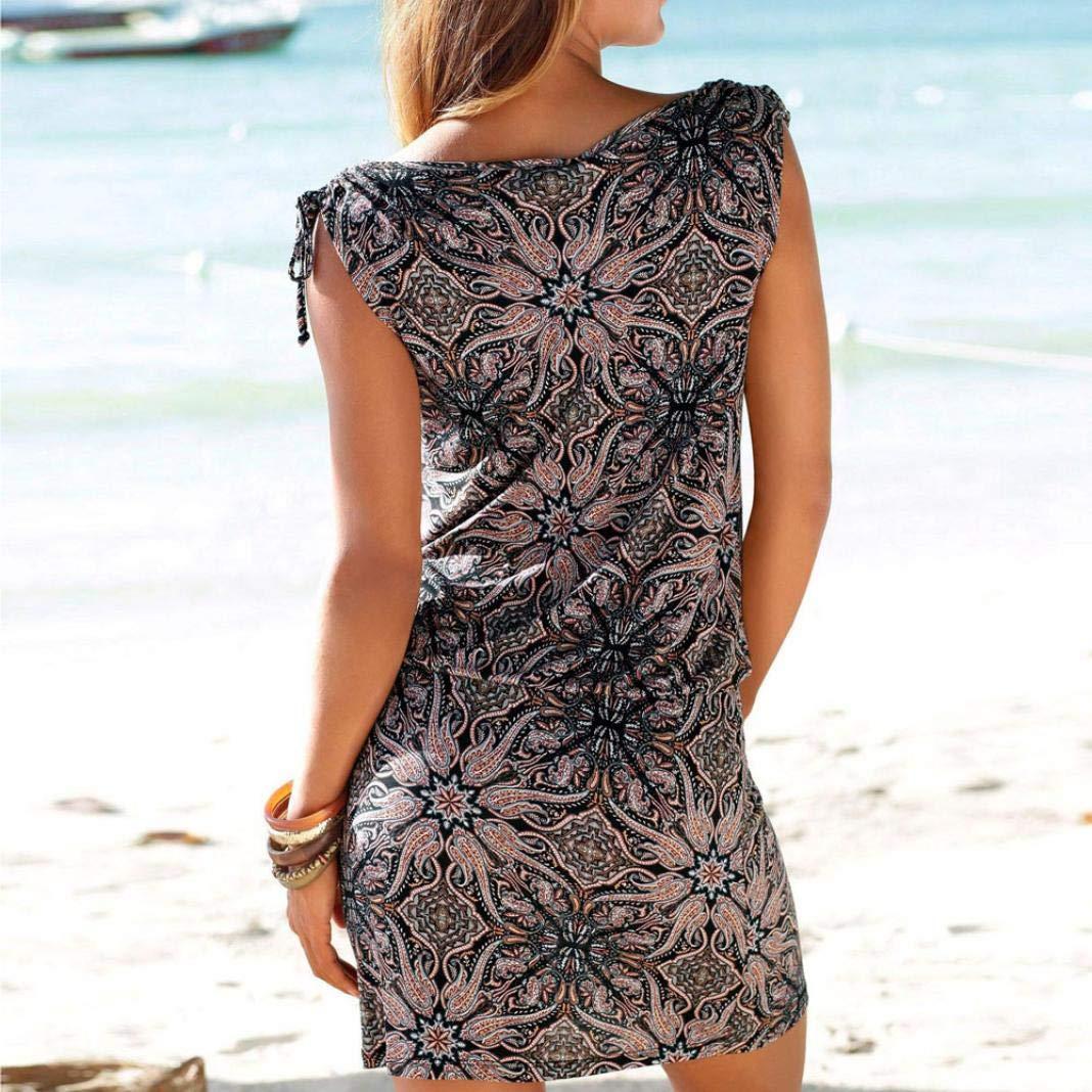 NREALY Falda Womens Fashion Casual Sleeveless Retro Print Beach Mini Dress Beach Dress