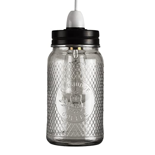 Retro Style Clear Glass U0026 Black Coffee Owl Design Jar Ceiling Pendant Light  Shade
