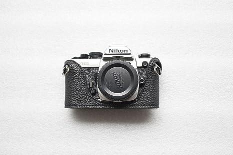 Funda de Cuero Hecha a Mano con Media cámara para Nikon FM2 FM FM2 ...