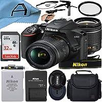 Nikon D3500 DSLR Camera 24.2MP Sensor with NIKKOR 18-55mm f/3.5-5.6G VR Lens, SanDisk 32GB Memory Card, Case, Tripod and A-Cell Accessory Bundle (Black)