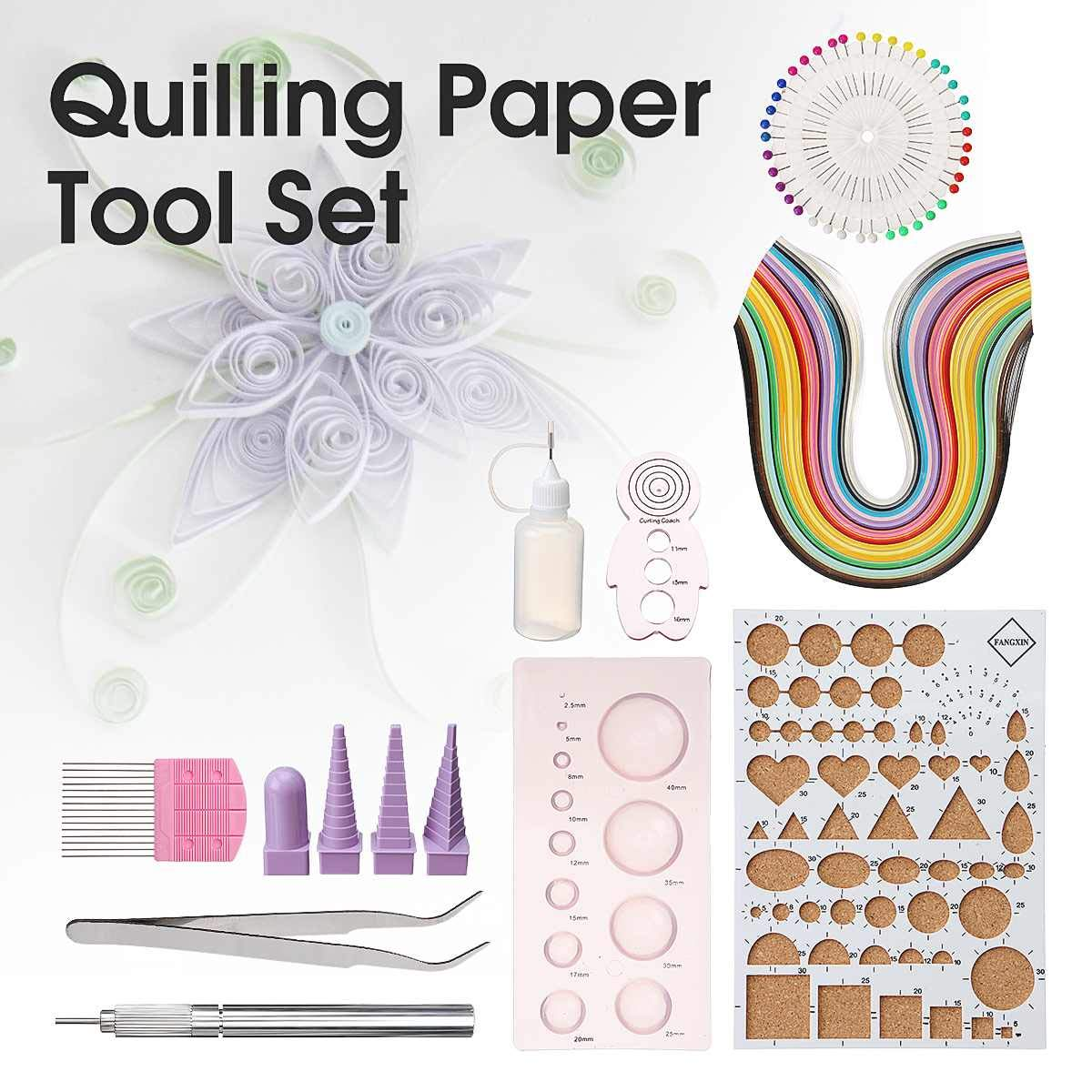 JohnnyBui - 50 Colors Paper Quilling DIY Craft Tool Full Kit Handmake Work Board Mould Set Mini Mould Quilling Borders Delicate Shapes by JohnnyBui