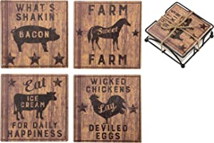 Primitives by Kathy Farmhouse Decorative Stone Coasters, Set of 4