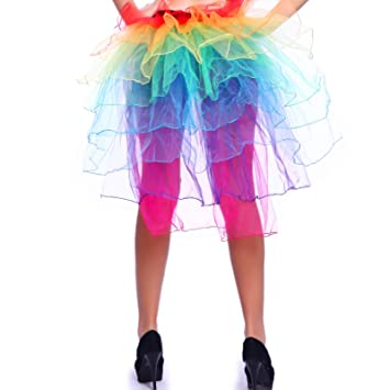 40c3ac937 8 Layers Moulin Rouge Neon Rainbow MULTICOLOURED Organza Tulle RaRa Rave  Party Dance Showgirl Half Bustle Burlesque Tutu: Amazon.co.uk: Toys & Games