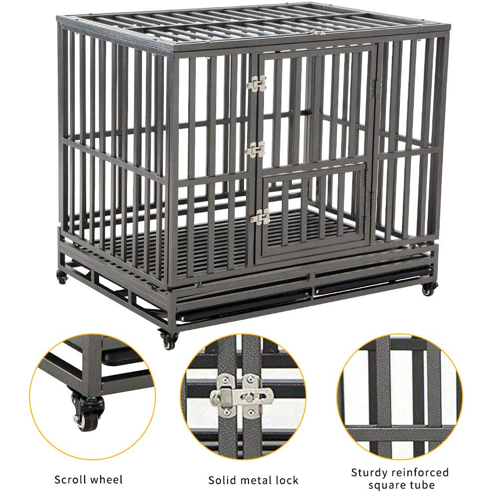 LUCKUP 48 inch Heavy Duty Dog Cage Strong Metal Kennel and Crate for Large Dogs,Upgrade Anti-Escape Lock,Easy to Assemble Pet Playpen with Four Wheels,Black /…
