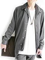 (モノマート) MONO-MART ロング丈 スーツ地 ストレッチ シャツ 長袖 ゆるシルエット 変形 BIG こなれ感 MODE メンズ