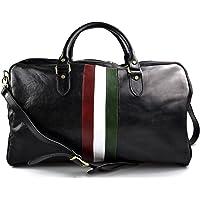 Bolsa de viaje piel mujer hombre bolso de equipaje bandera italiana cuero italiano bolso deportivo bolsa cabina negro